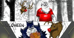Santa in a Batman costume for Halloween