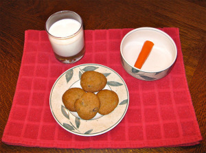 cookies milk and a carrot for father christmas