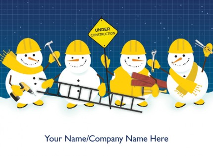 Construction Snowmen<br>Front Personalised